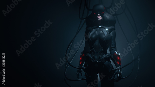 Obraz Woman gamer in futuristic suit and VR helmet diving deep into virtual reality. Dark Action Scene. Many wires connected to black sci-fi female costume. Cyber technology. Concept art. 3d illustration. - fototapety do salonu