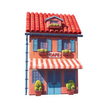 Small Street Cafe With Red-white Striped Awning, Red Roof Tiles, Plants. Concept Art Of Unusual Cute Cartoon European House With Blue Shutters And Door. 3d Illustration Isolated On White Background.