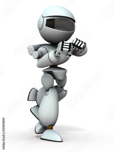 Photo  ファイティングポーズの人工知能のロボット