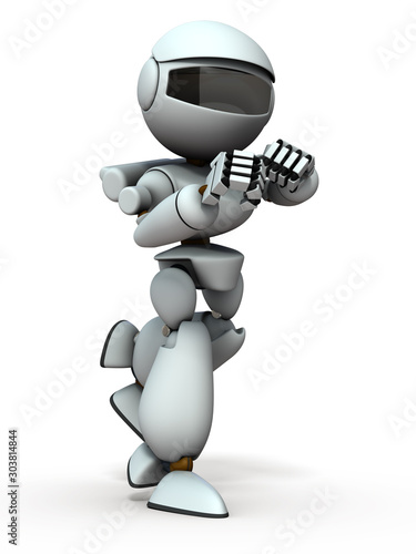 фотография  ファイティングポーズの人工知能のロボット