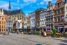 Grote Markt In Mechelen, Belgium. Mechelen Is A City And Municipality In The Province Of Antwerp, Flanders, Belgium.