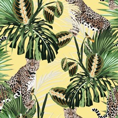 Panel Szklany Do salonu Colorful floral pattern with tiger leopard and exotic tropical leaves illustration. Fashion ornament on yellow background.