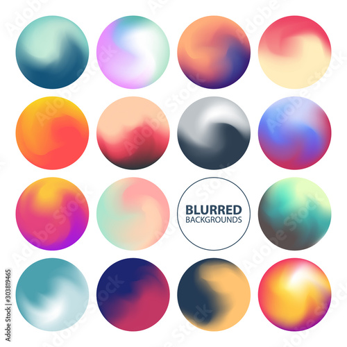 Leinwand Poster Blurred circle backgrounds set with modern abstract color gradient patterns