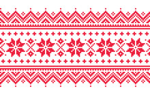 Christmas Vector Long Seamless Winter Pattern, Inspired By Sami People, Lapland Folk Art Design, Traditional Knitting And Embroidery