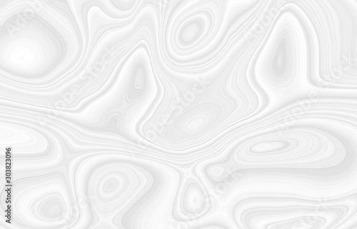 Tuinposter Abstract wave White background with waves and bends in an abstract cosmic form, circles and stains. Gray texture with gradients in 3 d volume, template for beautiful screensavers.