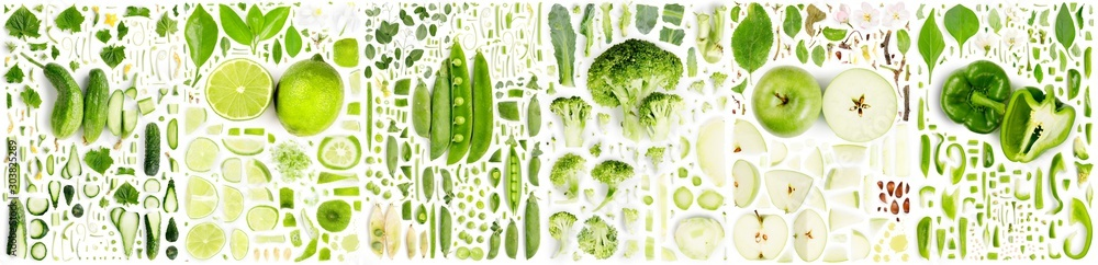 Fototapety, obrazy: Green Fruit and Vegetable Slice and Leaf Collection
