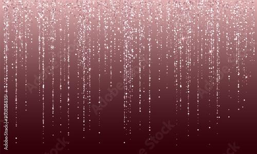 Obraz Pink gold sparkle dots glitter festoons luxurious invitation card border. - fototapety do salonu