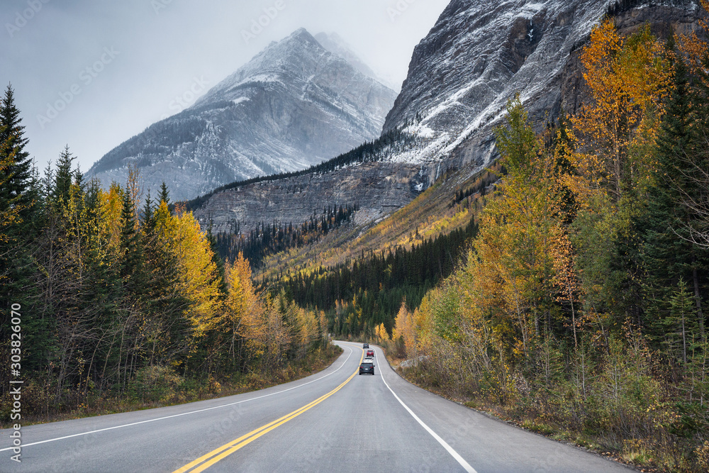 Fototapeta Scenic road trip with rocky mountain in autumn forest at Jasper national park