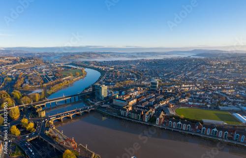 Fototapeta An aerial view at sunrise of Newport city centre, south wales United Kingdom, ta