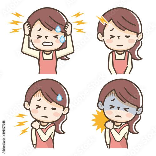 頭痛 主婦 女性 Fotobehang