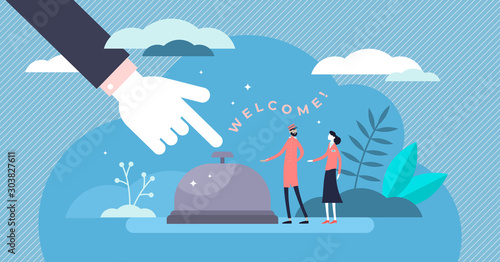 Fotografía Hospitality concept flat tiny persons vector illustration