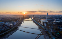 An Aerial View At Sunrise Of N...