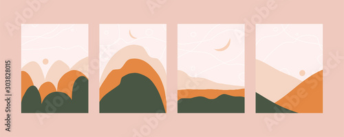 Mountain landscape in pastel colors. Abstract mountain landscape. Vector trendy illustration. Eps 10.