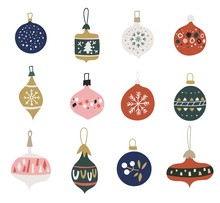 Christmas Set With Balls And Baubles. Christmas Glass Toys. Hanging Balls With Various Patterns, Drawn In The Scandinavian Style. Flat Style.