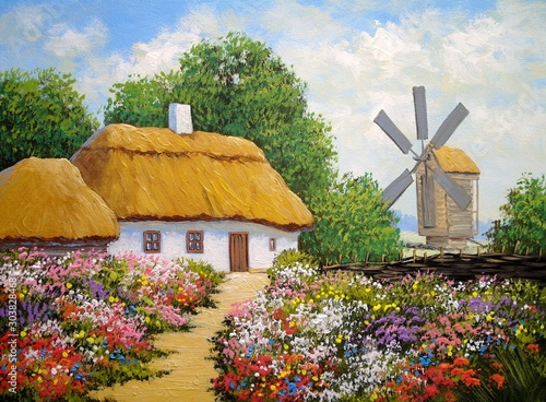 Fotografia Oil paintings rural landscape, old village in Ukraine