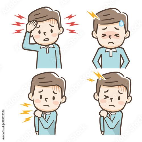 頭痛 肩こり 男性 Fotobehang