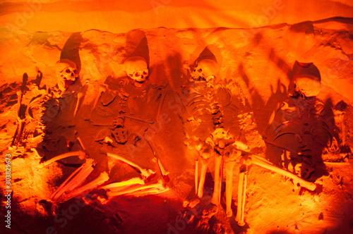 Poster Oranje eclat Fotografía de restos encontrados en la ciudad de los dioses, Teotihuacan, Mexico.