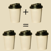 Coffee For Free Sale, 1 Plus 1 Equals 3 Cups, Square Gift Banner. Hot Drinks To Go Isolated On Biege Pastel Background. Take Away,fast Food. Price Tag, Text, Sign.Copy Space, Brand Mockup,social Media