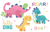 Fototapeta Dino - Set of cute dinosaur illustrations. Funny cartoon dino collection with tropic plants and slogans. Hand drawn vector set for kids design, isolated on white background.