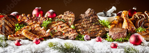 Obraz Fresh grilled meat decorated with snow - fototapety do salonu
