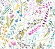 Leinwanddruck Bild -  Watercolor flowers. Seamless watercolor pattern.