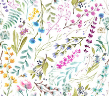 Watercolor Flowers. Seamless ...