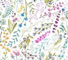 Watercolor Flowers. Seamless ...