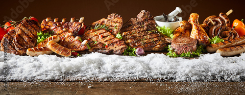 Layout of grilled meat products in winter theme