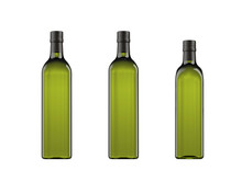 Collection Of Oil Bottles For Packshot, Marasca Model 750ml, Marasca Model 750ml Type 2,  Marasca Model 500ml. 3d Rendering