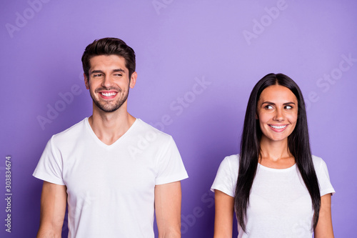 Fototapeta Close-up portrait of his he her she nice attractive lovely charming cute lovable sweet cheerful cheery couple modest first date isolated on purple violet lilac color pastel background obraz
