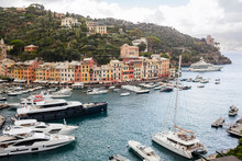 View On Portofino. Italian Fishing Village And Holiday Resort Famous For Its Picturesque Harbour And Historical Association With Celebrity And Artistic Visitors