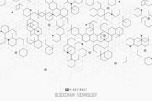 Abstract Blockchain Technology Design Of Hexagonal Style Background. Illustration Vector Eps10