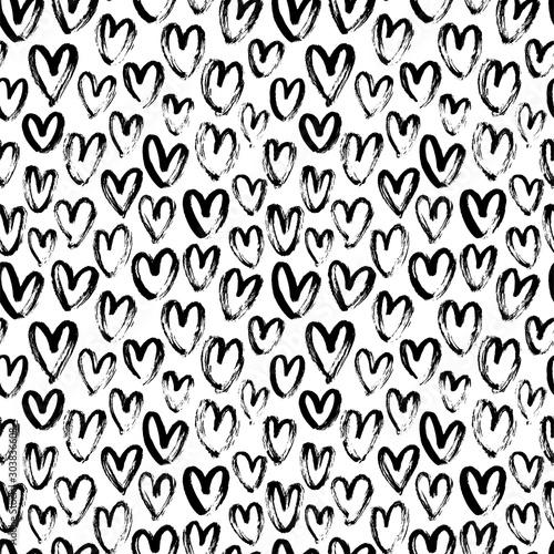 Obraz Heart seamless pattern. Black and white ink brush hearts hand drawn ornament. Romantic figures vector illustration. - fototapety do salonu