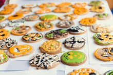 Assorted Hallowen Cookies On Y...