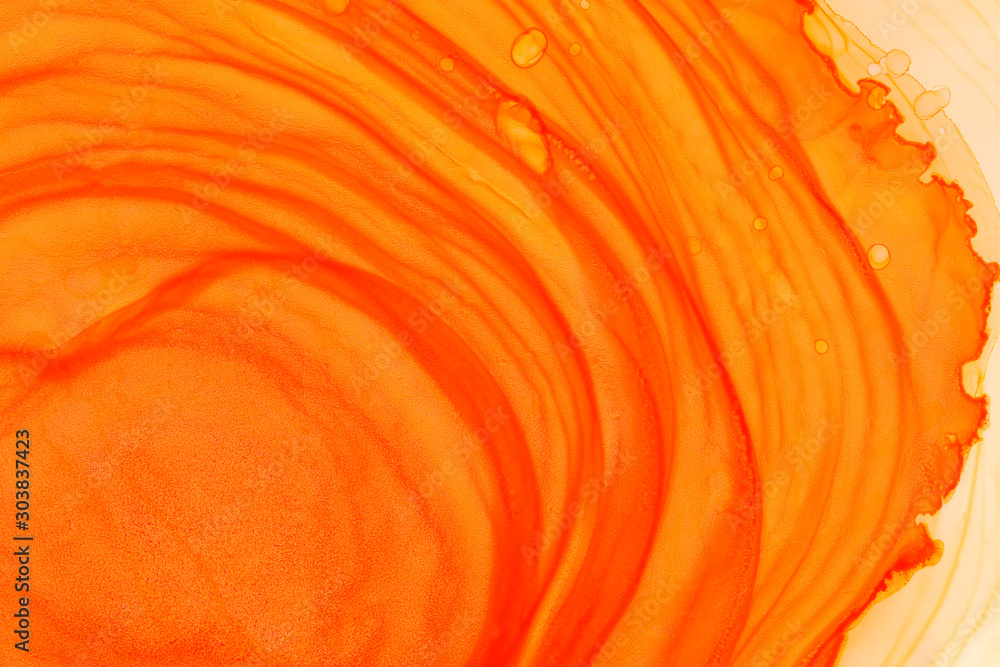 Fototapety, obrazy: Bright orange alcohol ink wallpaper. Hand drawn abstract watercolor background. Paintbrush orange strokes.