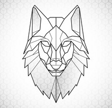 Wolf Head Icon. Abstract Trian...