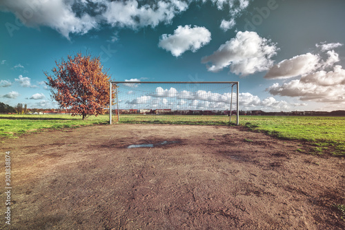 soccer goal with tree, skyline and cloudscape - 303838874