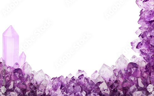 Photo isolated light amethyst crystals half frame