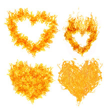 Four Orange Flame Hearts Isolated On White
