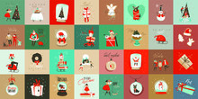 Hand Drawn Vector Abstract Fun Merry Christmas Time Cartoon Cards Collection Set With Cute Illustrations,surprise Gift Boxes And Handwritten Modern Calligraphy Text Isolated On Colored Background.