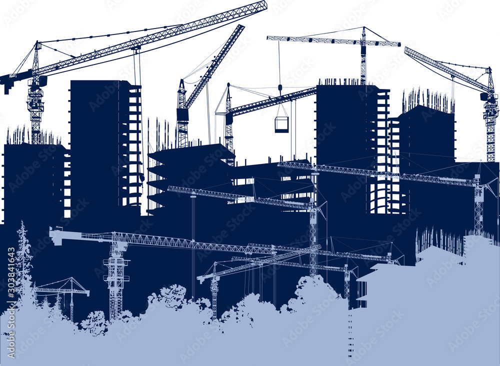 Fototapety, obrazy: light and dark blue house building cranes illustration