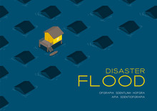 House Living With Boat 3d Isometric Pattern, Flood Disaster Concept Poster And Social Banner Post Horizontal Design Illustration Isolated On Blue Background With Copy Space, Vector Eps 10