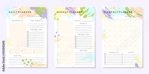 Obraz Vector planner templates with hand drawn shapes and textures in pastel colors.Organizer and schedule with place for notes,goals and to do list.Trendy minimalistic style.Abstract modern design. - fototapety do salonu