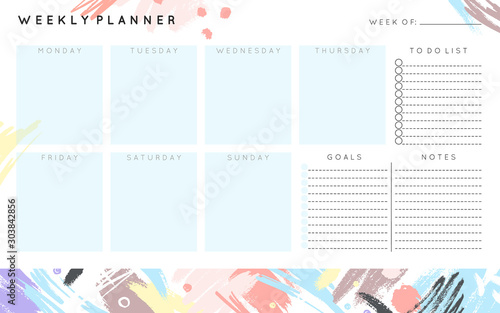 Obraz Vector weekly planner template with hand drawn shapes and textures in pastel colors.Organizer and schedule with place for notes,goals and to do list.Trendy minimalistic style.Abstract modern design. - fototapety do salonu