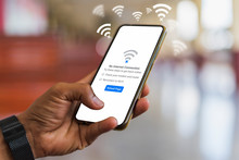 Man Holding Smartphone But Can't Connect Wifi