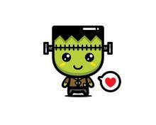 Cute Frankenstein Vector Cartoon Design