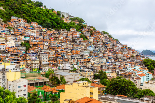 Colorful Brazilian favelas slums on the hill, Rio De Janeiro, Brazil Billede på lærred