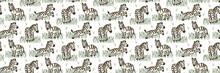 Cartoon  Zebra Seamless Border Pattern. Cute Safari Animal Banner Background. Hand Drawn Kawaii Gender Neutral Kid Motif Ribbon Trim Illustration Doodle In Flat Color. EPS 10
