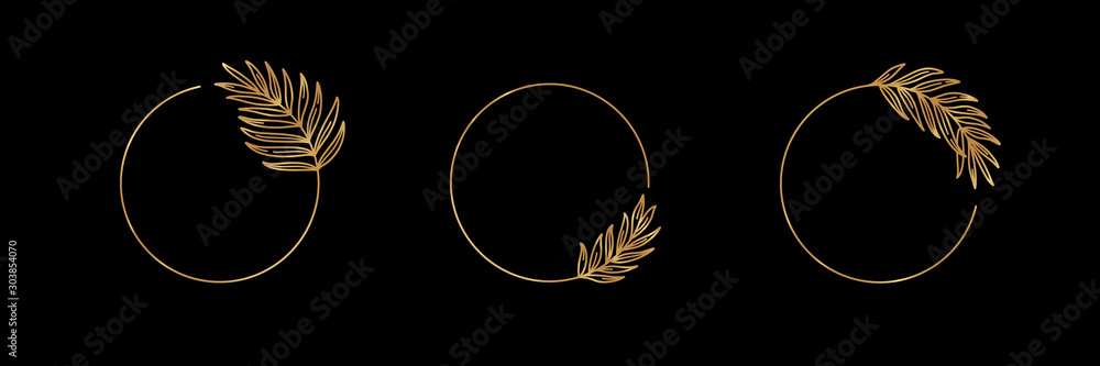 Fototapeta Set of Logos with Golden tropical palm leaf. Round frame in trendy minimal linear style. Vector Emblem with Palm Branch. Template for logo cosmetics, beauty Studio, hairdresser, hand made, jewelry
