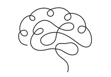 One Line Brain Design Silhouette.Logo Design. Hand Drawn Minimalism Style